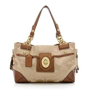 Coach PEYTON Signature Sateen Canvas Leather Carry